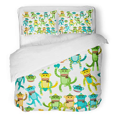 Sock Monkey Bedding Set - MIGAGA Decor Duvet Cover Set Twin Size Waving Collection of Baby Gender Neutral Sock Monkey Animal 3 Piece Brushed Microfiber Fabric Print Bedding Set Cover