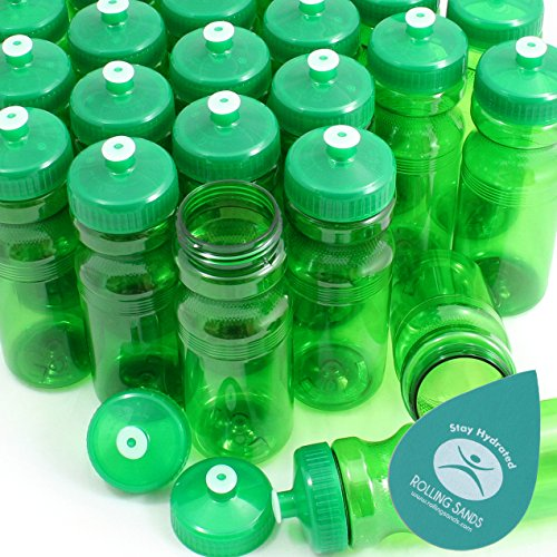 Rolling Sands BPA-Free 24oz Water Bottle Bulk Green (100 Pack, Made in USA)