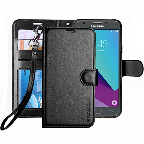 Eclipse Wallet (Galaxy J3 Emerge Case / J3 Prime /J3 Mission / J3 Eclipse / Sol 2 / Amp Prime 2 Case, ERAGLOW PU Leather Wallet Flip Protective Cover with Card Slots & Kickstand for Samsung Galaxy J3 2017 (Black))