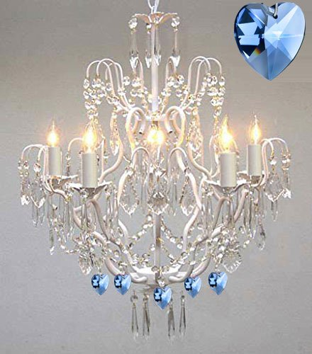 Wrought iron crystal chandelier authentic empress crystaltm wrought iron crystal chandelier authentic empress crystaltm chandelier lighting chandeliers with blue aloadofball Image collections