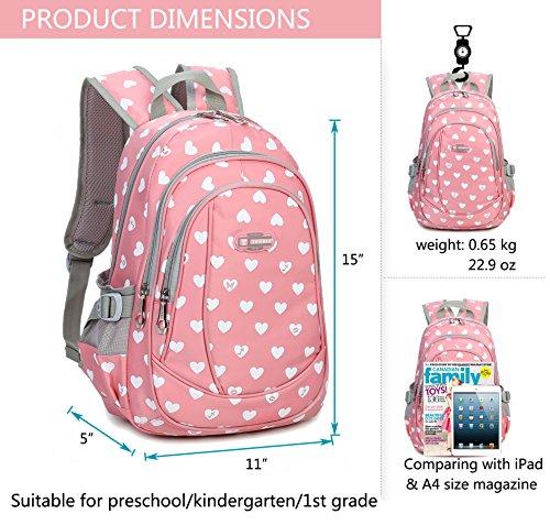 Hearts Print School Backpacks For Girls Kids Elementary School Bags