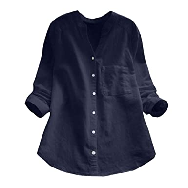 buy good good texture special section Holywin Chemise Casual à Manches Longues en Lin Coton pour ...