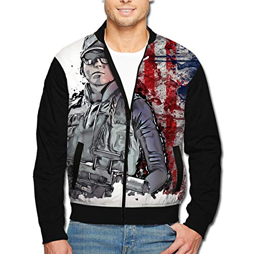 Ash Rainbow 6 Mens Youth Long Sleeve Hoodie Zipper Stand Collar Fleece Design Coat Sports Pilot Jacket With Pocket L ()