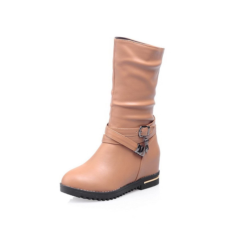 1TO9 Ladies Heighten Inside Kitten-Heels Outdoor Imitated Leather Boots