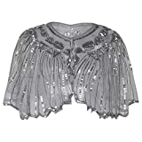 PrettyGuide Women's 1920s Shawl Beaded Sequin Deco Cape Bolero Flapper Cover up Grey Silver