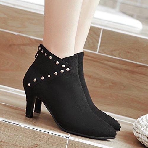 AIYOUMEI Damen Nubukleder Stiletto Stiefeletten mit Nieten High Heels Elegant Ankle Boots Schwarz