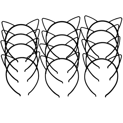 XIMA 12pcs Black Cat Ears Headband Cute ABS