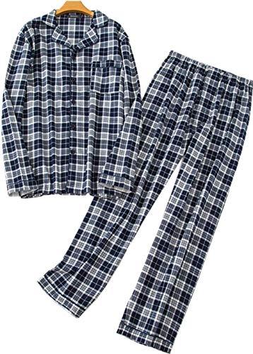 - Mens Plaid Flannel Pajamas 100% Cotton Pj Set Long Sleeves Sleepwears-Black Grid-XL