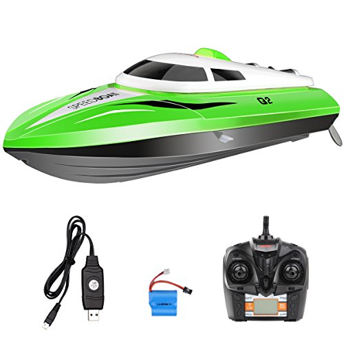 SYMA Q2 RC Boat Water Sensor Switch Cooling Device 2.4GHZ 4CH Remote Control Speedboat-Green