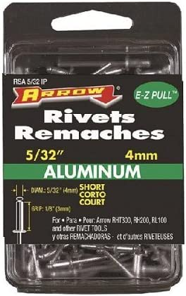 15-Pack Arrow Fastener RSST5//32 Short Steel 5//32-Inch Rivets