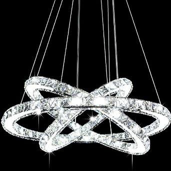 Delightful Siljoy Three Rings Chandelier Ligiting (11.8   19.7   27.6 Inches) K9  Crystal Ceiling