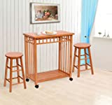 GHP Pine Wood Multifunctional Kitchen Island Table Cart Storage Set w Stools