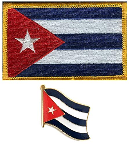 Cuba Embroidered Flag Patch and Cuban Flag Lapel Pin Set, One of Each Item is Included ()
