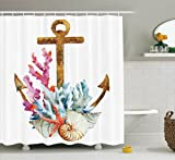 Coral Shower Curtain Anchor Decor Shower Curtain Set By Ambesonne, Anchor With Corals Seaweed Nature Deep Sea Underwater Life Diving Enjoyment , Bathroom Accessories, 84 Inches Extralong