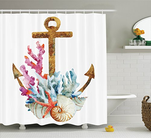 Ambesonne Anchor Decor Shower Curtain Set, Anchor With Coral