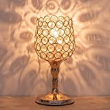 HAITRAL Gold Night Light Lamp - Wine Glass Shape Modern Table Lamps with Unique Lampshade Modern Nightstand Desk Lamps for Living Room, Bedroom, Dining Room, Dresser, Office, Kitchen (HT-BD030)