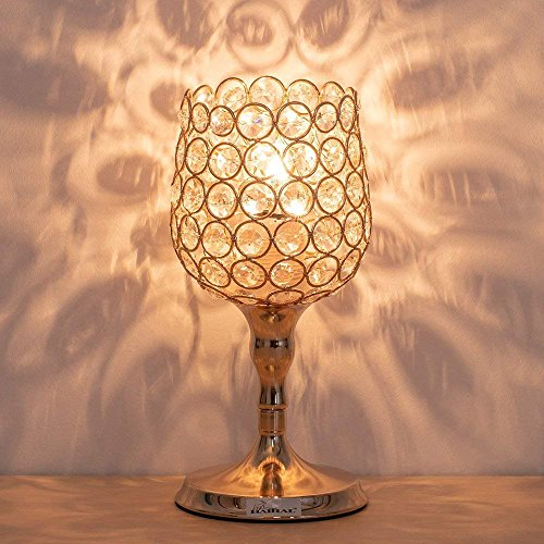 HAITRAL Gold Night Light Lamp - Wine Glass Shape Modern Table Lamps with Unique Lampshade Modern Nightstand Desk Lamps for Living Room, Bedroom, Dining Room, Dresser, Office, Kitchen (HT-BD030) by HAITRAL