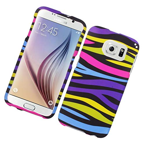Insten Zebra Rubberized Hard Snap-in Case Cover Compatible with Samsung Galaxy S6 SM-G920, Colorful