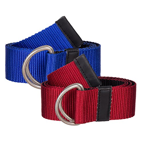 Belted Canvas Belt (Sunny Belt Girls' 2 Pack reversible Canvas Web Belt with Metal Double-Ring Buckle and)