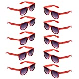 Oaonnea UV Protection Neon Colors 80's Retro Classic Party Favors Sunglasses (red)