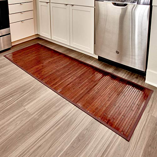 iDesign Formbu Bamboo Floor Mat Non-Skid, Water-Resistant Runner Rug for Bathroom, Kitchen, Entryway, Hallway, Office, Mudroom, Vanity, Mocha Brown