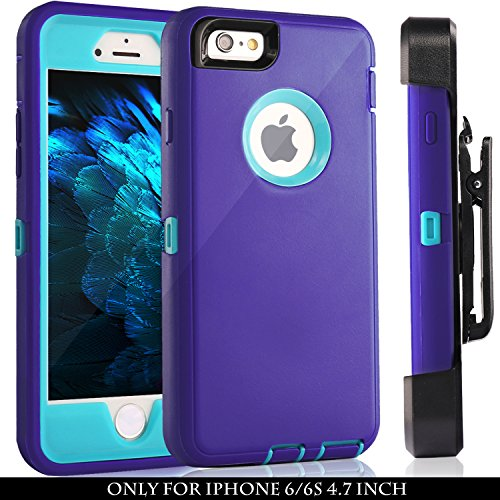 iPhone 6 Case, Fogeek Heavy Duty PC + TPU Combo Protective Defender Case for iPhone 6/6S w/ 360 Degree Rotary Belt Clip & Kickstand(Blue/Purple) (360 Degree Swivel Clip)