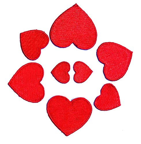 Iron-on Heart Patches (Set of 8) - Embroidered Appliques, Repair and Decorate Clothing, Jeans, Shirts - by Beaulegan
