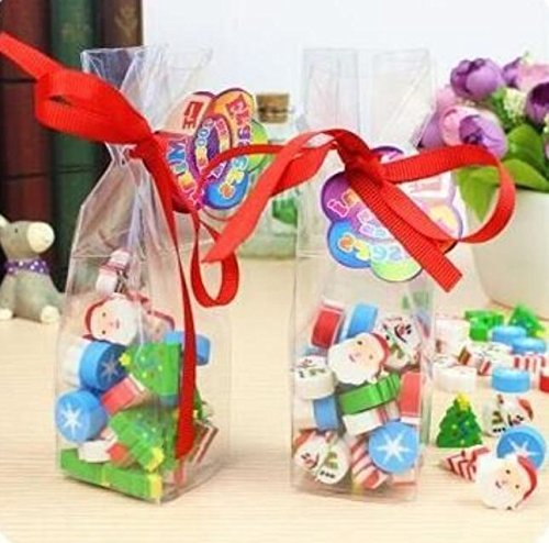 Assorted Christmas Erasers For Holiday - 100 Pcs. Clear Red Bow Gift Box. Amazing Kids Students Gift, Party Favor! Great Fun To Play With. By Mega Stationers
