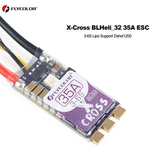 Flycolor X-Cross 35A BLHeli_32 ESC 3-6S Lipo Support Dshot1200 Oneshot125 PWM Multishot RGB Light Setting Electronic Speed Controller by Crazepony (BLHeli_32 35A)