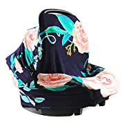 Nursing Cover and Baby Car Seat Canopy Multi-use 5-in-1 | Breathable, Stretchy, Universal Fit | Pink and Navy Floral