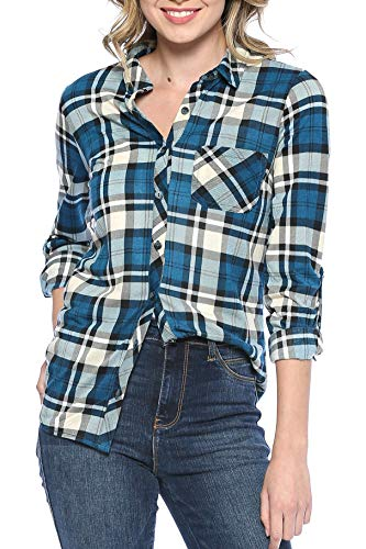 Urban Look Womens Long Sleeve Plaid Button Down Flannel Shirt (Large, Teal Beige)