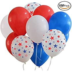 Patriotic Decorations Star Latex Balloons (100balloons) Red White Blue - Fourth of July-Memorial Day or Any Patriotic Celebration Party Favors and Supplies.