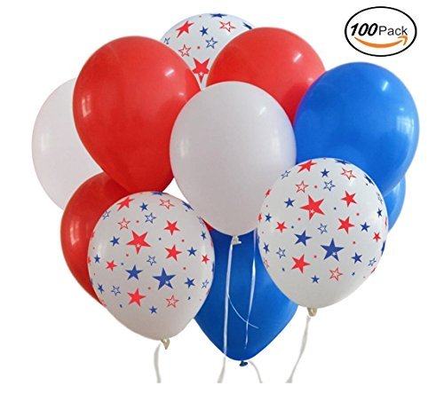 Patriotic Decorations Star Latex Balloons (100balloons) Red White