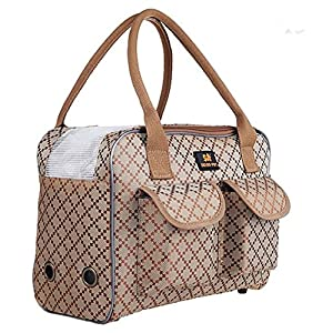 Stylish Ventilated Discreet Dog / Cat / Small Animal Travel Pet Carrier Tote Purse Hand Bag – with Exterior Pockets and Removable Crossbody Strap – 3 Size Options (M)