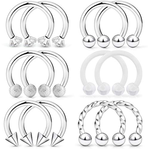 Dyknasz Horseshoe Circular Barbell Clear Diamond CZ Braided Barbell Nose Septum Rings Hoop Helix Cartilage Earring Surgical Steel Piercing Jewelry Retainer for Women Men 16G 10mm Silver-Tone