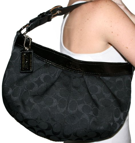 Authentic Coach Soho Pleated Signature Hobo Bag 13740 Black ...