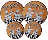 : Set 4, Round Stove Top Burner Covers - Chefs Design. #82-154
