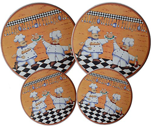 Set 4, Round Stove Top Burner Covers - Chefs Design. #82-154