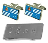 Assis City Sao Paulo State Flag Cufflinks & James Bond Money Clip