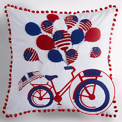 Cassiel Home 4th of July Independence Day Throw Pillow Covers 18x18| Patriotic Decorations Embroidery Bycicle American Flag Balloon| Memorial Day Flag Day Patriotic Day Veterans - Pillow Day Throw