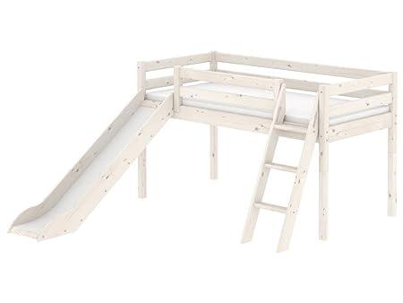 Etagenbett Rutsche Weiß : Etagenbett mit rutsche beni l kinderbett spielbett bett weiß stoff