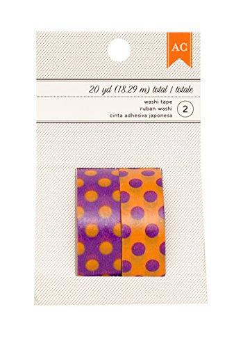 American Crafts Halloween Orange Dots & Purple Dots Washi Tape, 20 yd -
