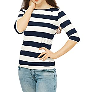 Allegra K Women's Elbow Sleeves Boat Neck Slim Fit Striped Tee