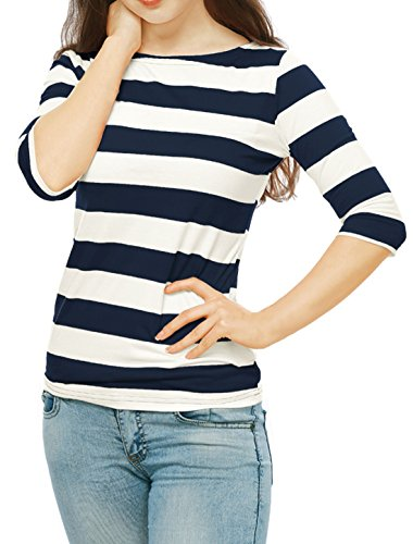Allegra K Women's Elbow Sleeves Boat Neck Slim Fit Striped Tee Blue S (US 6) -