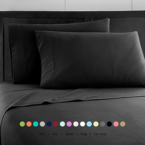 Prime Bedding Bed Sheet Set - Brushed Microfiber 2000 Bedding - Wrinkle, Fade, Stain Resistant - 4 Piece (Full, Black)