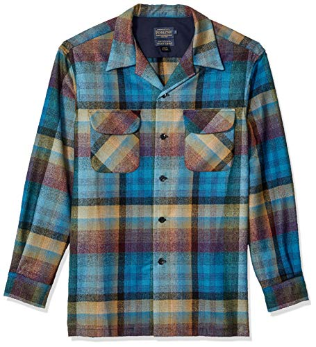 Pendleton Men's Long Sleeve Classic-fit Board Shirt, Turquoise/Multi Ombre, MD