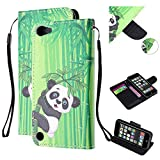 Amocase Hand Strap Leather Case with 2 in 1 Stylus for iPod Touch 6,Colorful Printed Premium Magnetic Wallet PU Leather Stand Shockproof Card Slot Case for iPod Touch 5/6 - Cute Panda Bamboo
