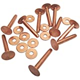 """#10 Solid Copper Rivets and Burrs 20 Pack By Hill Leather Company (1-1/4"""")"""