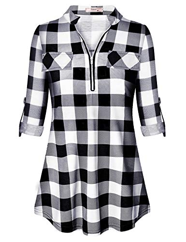 Tanst Tunics for Women Womens Tops and Blouses Plus Size Clothing Zipper Up Polo Collar Roll Tab Sleeve Stylish Casual Wear Prime Utility Color Block Shirttail Plaid Knit Henley Shirt Black XXL
