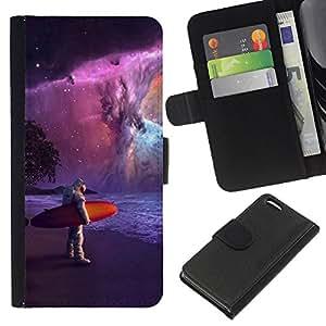 KLONGSHOP // Tirón de la caja Cartera de cuero con ranuras para tarjetas - Astronauta Surfer Pintura - Apple Iphone 5C //